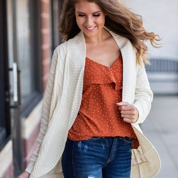 Found You There Long Sleeve Cardigan : Cream