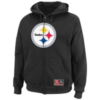 NFL Mens Pittsburgh Steelers Classic Heavyweight III Black Long Sleeve Full Zip Fleece W/Hood