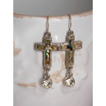 Vintage Mother of Pearl Abalone Shell Cross Earrings