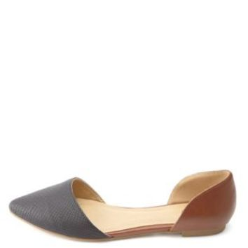 Python Color Block Pointed Toe D'Orsay Flats - Black Combo