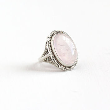 Vintage Art Deco Sterling Silver Rose Quartz Ring - 1930s Swirl Filigree Size 6 Statement Light Pink Oval Natural Gemstone Statement Jewelry