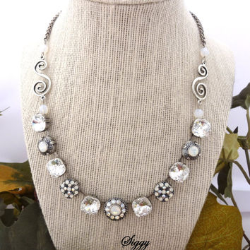 "Swarovski crystal ""ICE DIVA"" Necklace, 12mm clear cushion cut, white opal flower embellished, Siggy Jewelry Ice Collection"