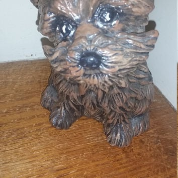 Brown Terrier Puppy Handmade Ceramic Vintage 1995 Terrier Dog Figurine