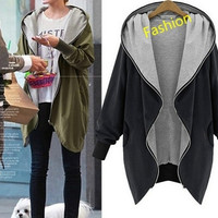 5 Colors Size(XS-5XL) New Winter Women's Lady's Simple Fashion Casual Loose Long Hooded Windbreaker Coat