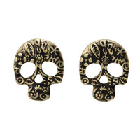 LOVEsick Burnished Gold Day Of The Dead Skull Earrings