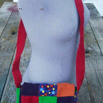 Rainbow Recycled Corduroy Crossbody Purse Red Orange Blue Green Purple