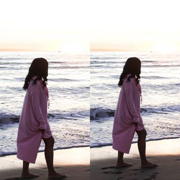 ~ Petal Pink Oversized Cowl Neck Tunic or Dress - You Decide