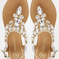 River Island Really Embellished Flat Sandals