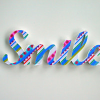 SMILE inspirational wood word, wall decor, hanging or freestanding - paisley fabric on painted wood