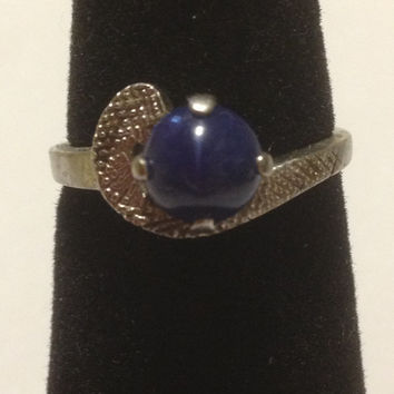 10K Star Sapphire Ring Pinky Size 4.5 White Gold 1.25 CT Blue 1.6 Grams 1940s Vintage Jewelry 14KT Cocktail Wedding Promise Gift Genuine