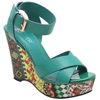 Colorful Abstract Floral Crisscross Platform Women's Wedge Sandals