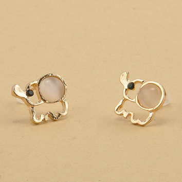 New Arrival Gold Plated Elephant Stud Earrings Rinestone&Cat Eye Stone Elephant Earring for Women Accessories Jewelry With