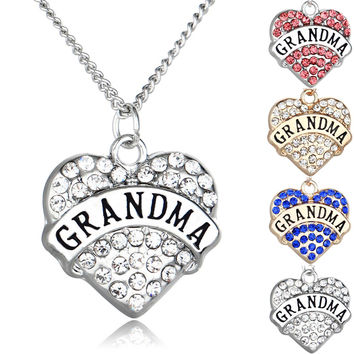 Grandma's Love Rhinestone Heart Pendant Necklace