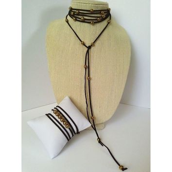 Gold choker lariat necklace
