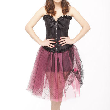 50s tea length tulle tutu skirt, Pink&black tutu skirt, adult tulle skirt, prom, bridesmaid, formal tulle tutu crinoline skirt, full skirt