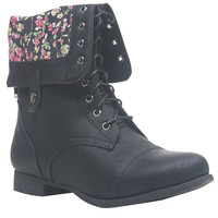 Blossom Print Foldover Combat Boots | Wet Seal