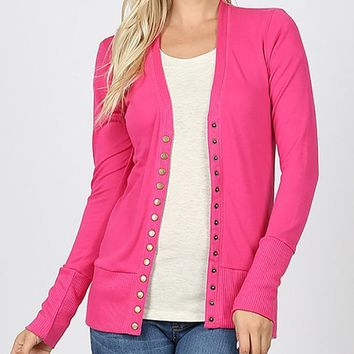 Snap Cardigan - Hot Pink