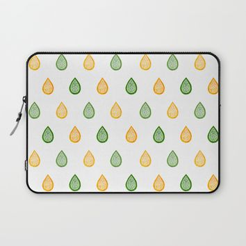 Yellow and green raindrops Laptop Sleeve by Savousepate