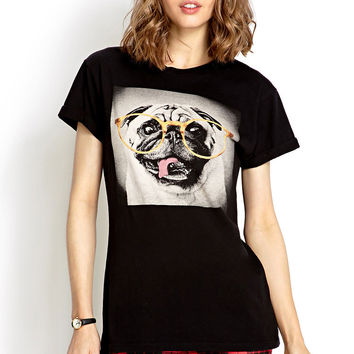 Black Pub Dog Print With Glass T-Shirt
