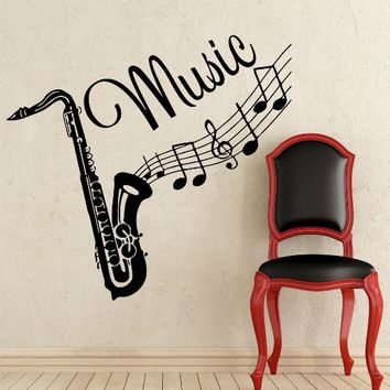 Wall Decal Musical Instrument Saxophone Vinyl Sticker Decals Recording Studio Music Home Decor Bedroom Art Design Interior NS454