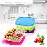 4 Compartment Healthy Meal Prep Leak Proof Microwavable Bento Lunch Box Containers - 4 pk