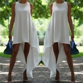 White Sleeveless Asymmetrical Midi Dress