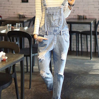 Light Blue Ripped Denim Overalls