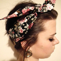 VINTAGE Style 50's Floral Head Scarf