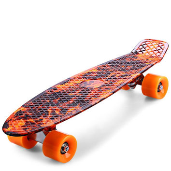 Hot Sale Faction CL- 78 Printing Hellfire Flame Pattern Skateboard Complete 22 Inch Retro Cruiser Longboard Skatecycle For Child