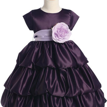 Satin Bubble Flower Girl Dress - Purple - Girls BL204