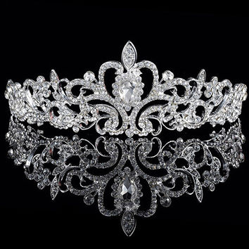 Women Elegant Wedding Bride Crown Headwear Rhinestone Tiaras Cute Head Pin Gift