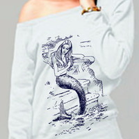 mermaid sweatshirt - vintage design MERMAID shirt - women's white fleece scoop neck sweatshirt