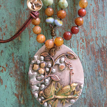 Long knotted boho necklace - Orchard Festival - OOAK artisan bohemian jewelry vintage birds, stones leather rustic country pendant statement