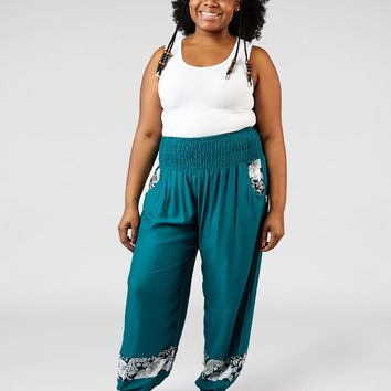 Zurura Teal Plus Size Two Tone Ankle Harem Pants