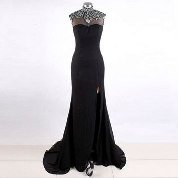 Special Occasion Formal Black Mermaid Chiffon High neck Beaded Side Slit Prom dresses