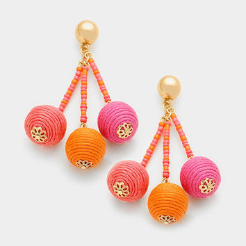 Gold & Pink Ombre Seed Bead Triple Thread Ball Earrings