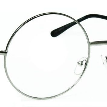 Extra Large Round 60's Retro Clear Lens Glasses Oversized Metal Frame