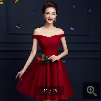 2016 stylish a line short tulle pleated corset cocktail dresses petite gorgeous off shoulder cocktail gowns hot sale