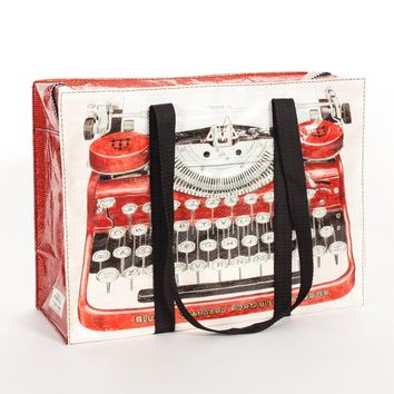 Typewriter Shoulder Tote Bag in Recycled Material