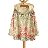 Diamond-Shaped & Stripe Three Quarter Sleeve Hooded Sweater Coat