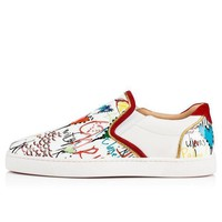 DCCK2 christian louboutin cl sailor boat flat version white leather 18s shoes