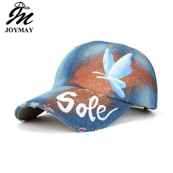 JOYMAY 2017 New Arrival Sole Butterfly Painting Jean Baseball Cap Adjustable Hip Hop Cap Leisure Casual Snapback HAT B458