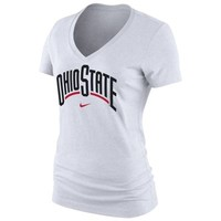 Ohio State Buckeyes Nike Women's Arch Cotton V-Neck T-Shirt - White