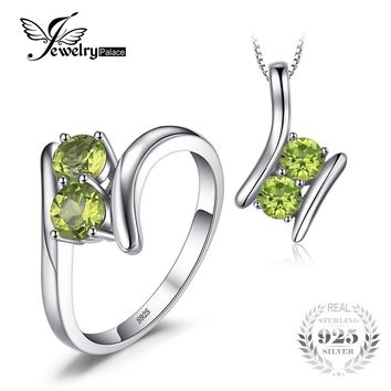 JewelryPalace Fashion 1.64ct Genuine Peridot 2 Stone Pendant Necklace Ring Real 925 Sterling Silver 45cm Chain Fine Jewelry Sets