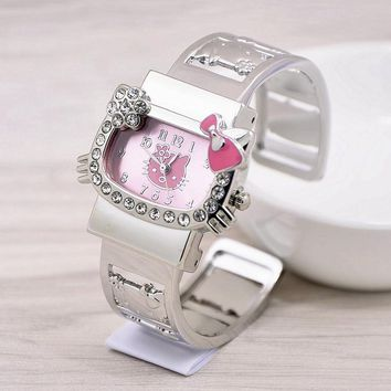 2016 New Hello Kitty Cute Cartoon Quartz Watch For Women Children Girls Baby Full Alloy Wrist Watch Relogio Feminino Hodinky