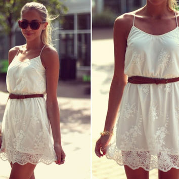 Strappy Lace Mesh Mini  Dress
