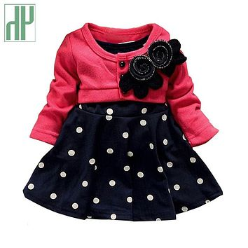 HH Baby girl dress princess autumn Dots dress wedding kids party dresses baby frock designs christening 1 year birthday dress