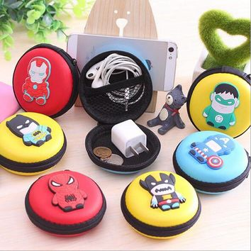 Fashion Novelty Super Heroes Silicone Round Coin Purse Key Wallet Mini Storage Organizer Bag Dual Earphone Holder Birthday Gift