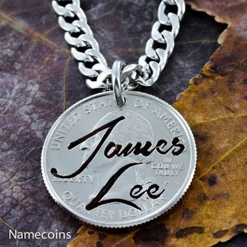 Name Necklace, custom name hand cut on quarter in Brush Script, NameCoins