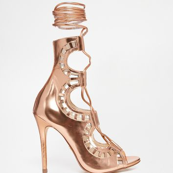 Windsor Smith Gillie Rose Gold Tie Up Peep Toe Shoes